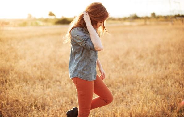 Picture field, grass, girl, nature, redhead, Danielle