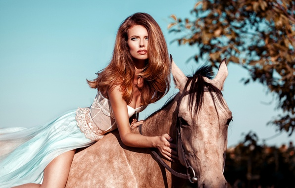 Picture the sky, girl, the sun, pose, horse, makeup, dress, hairstyle, brown hair, beauty, rider, bokeh