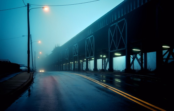 Picture road, bridge, the city, fog, lights, USA, USA, twilight, Virginia, Virginia, Richmond, United States of …