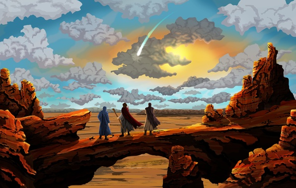 Picture the sky, clouds, landscape, people, rocks, desert, painting