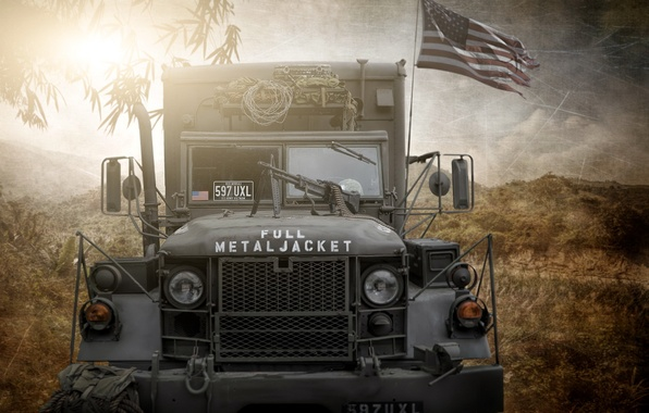 Picture photoshop, composite, US army truck, full metal jacket