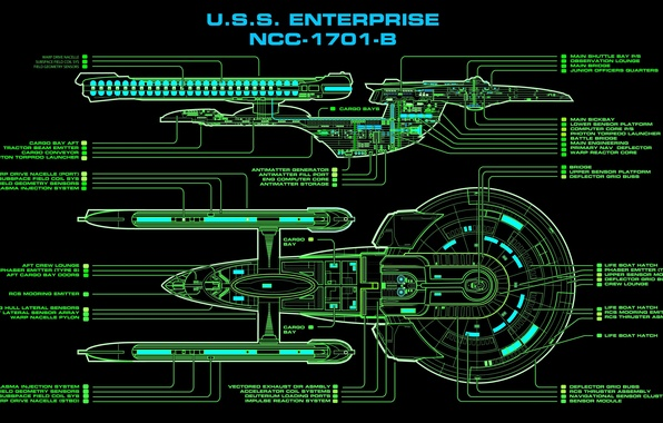Picture drawing, Star Trek, starship, NC-1701-B, U.S.S. Enterprise