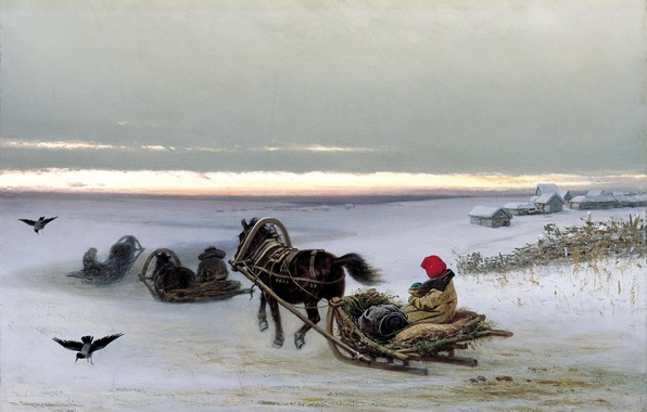 Picture winter, snow, sunset, people, home, picture, horse, crows, sleigh, painting, canvas, home, Georgian