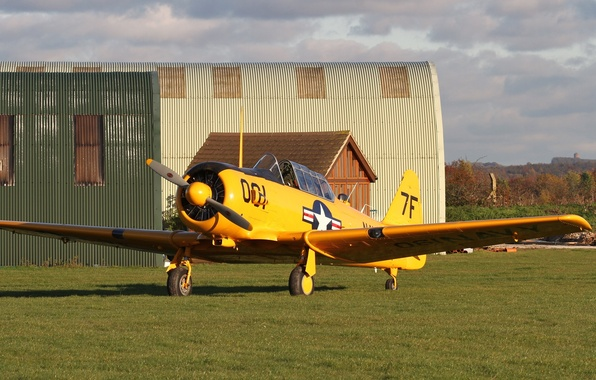 """Picture field, grass, the airfield, American, hangars, SNJ-5C """"Texan"""", training aircraft"""