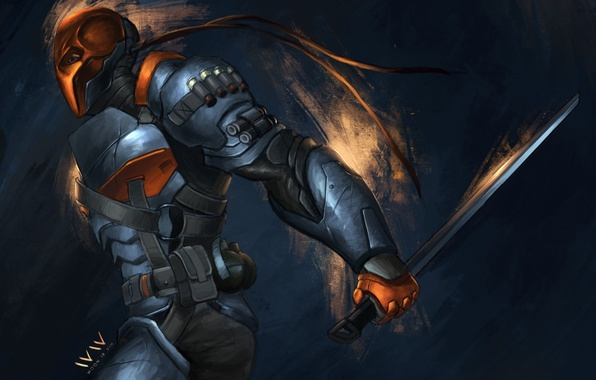 Picture sword, mask, art, armor, Batman: Arkham Origins, Deathstroke