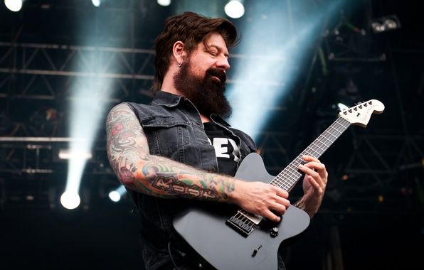 Picture music, guitar, music, tattoo, male, beard, alternative, alternative metal, stone sour, James Root, James Ruth