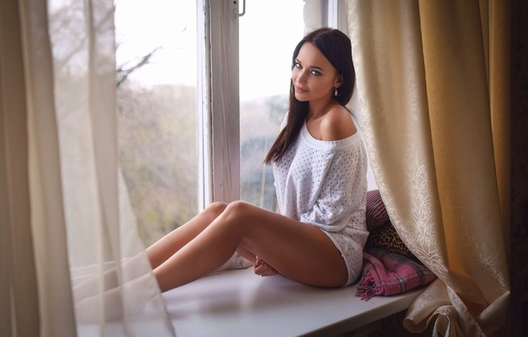 Picture look, girl, pose, sweetheart, earrings, brunette, window, pillow, sill, legs, sexy, beautiful, the beauty, curtains, …