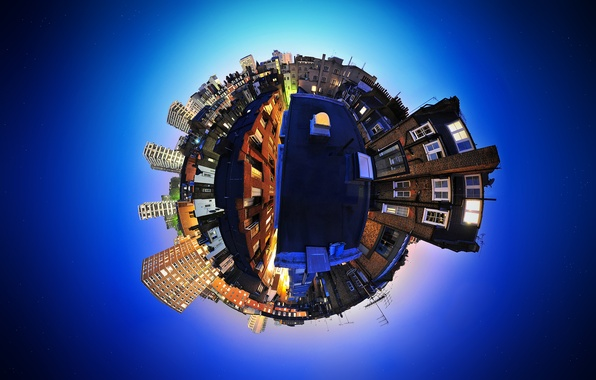 Picture the sky, blue, the city, England, distortion, panorama