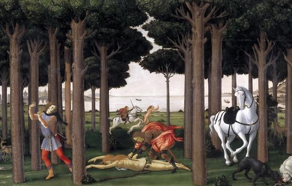 Picture sea, trees, mountains, people, horse, dog, picture, genre, mythology, Sandro Botticelli, History Nastagio Degli Onesti …