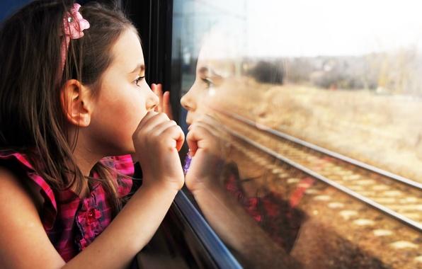 Picture children, reflection, sadness, child, cute, sadness, child, reflection, cute, children, lonely, lonely, train window, the …