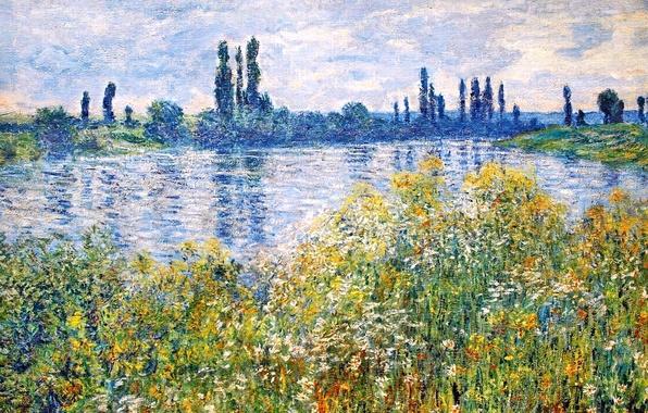Picture the sky, grass, trees, landscape, flowers, river, picture, Claude Monet