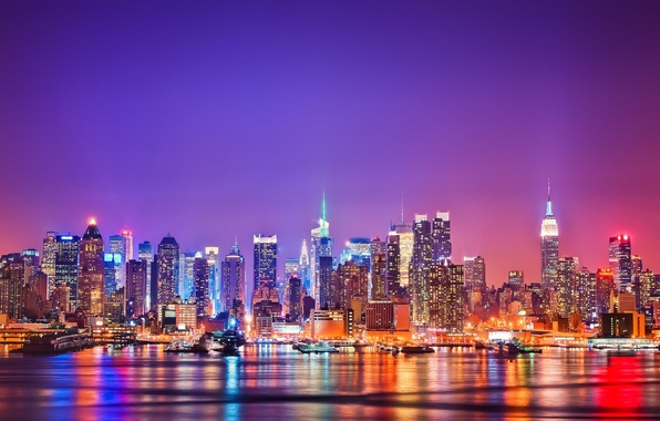 Picture the city, New York, the evening, skyline, night, usa, new-york
