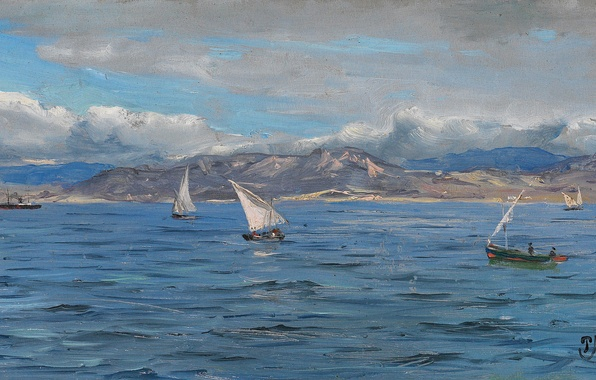 Picture sea, the sky, clouds, landscape, mountains, boat, picture, sail, Peder Monsted