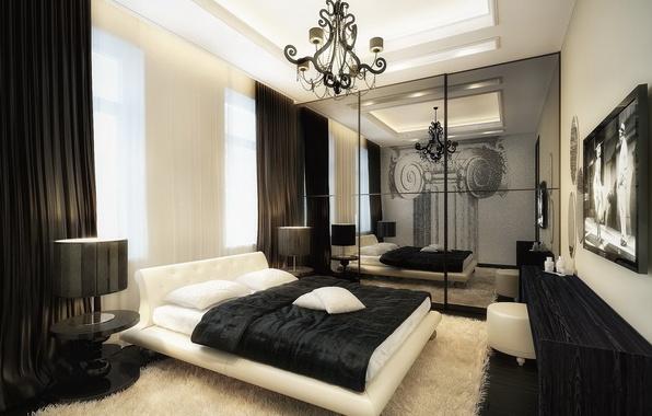 Picture lamp, bed, TV, chandelier, bed, Mat, bedroom, interior, wardrobe.