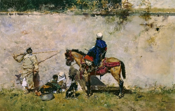 Picture people, wall, horse, dog, picture, genre, Mariano Fortuny, Moroccans