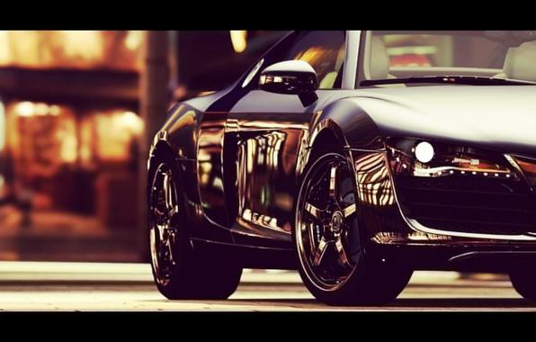 Picture road, machine, auto, city, the city, lights, Audi, Audi, street, lights, wheel, black, wheels, Audi …
