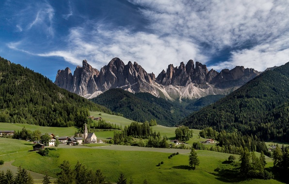 Picture forest, the sky, clouds, mountains, Italy, Church, temple, meadows, South Tyrol, the Dolomites, Val di ...