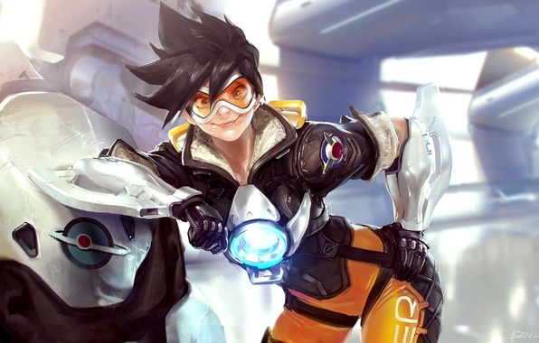 Picture girl, smile, art, Overwatch, Tracer, Tracer, Benlo