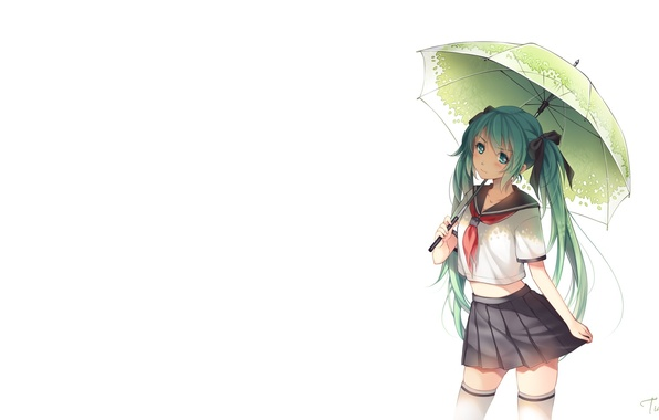 Picture girl, umbrella, art, form, schoolgirl, vocaloid, hatsune miku, bow, Vocaloid, tidsean