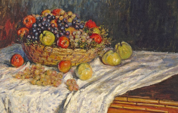 Picture table, picture, tablecloth, Claude Monet, Still life with Apples and Grapes