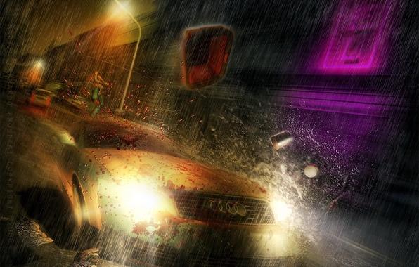 Picture the rain, auto, Audi, speed