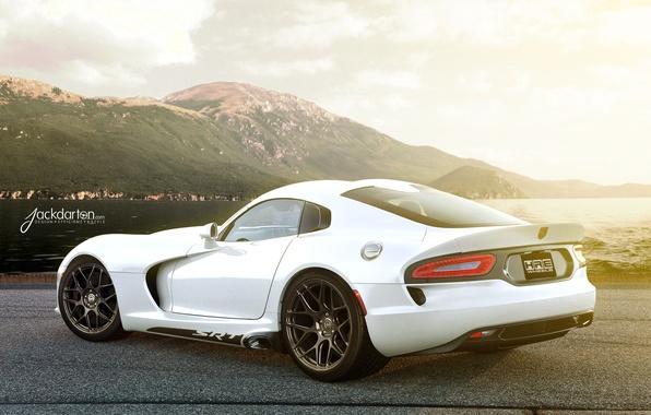 Picture white, the sun, mountains, shore, Dodge, white, Viper, Blik, Dodge, Viper, rear, GTS, SRT, Jackdarton