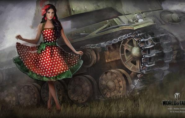 Picture girl, dress, tank, girl, tanks, WoT, World of tanks, tank, World of Tanks, tanks, Wargaming.Net, …
