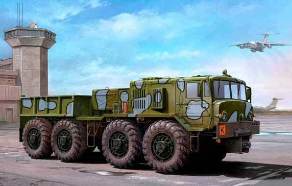 Picture engine, art, artist, USSR, the airfield, The Il-76, tractor, for, the sky, designed, conveyor, aircraft, ...