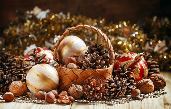 Picture glare, holiday, balls, basket, toys, Shine, New year, nuts, bumps, bokeh, hazelnuts, Christmas, walnut