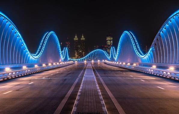 Picture night, city, the city, lights, lights, Dubai, Dubai, night, UAE, UAE, bridge Meydan, The Challenge …