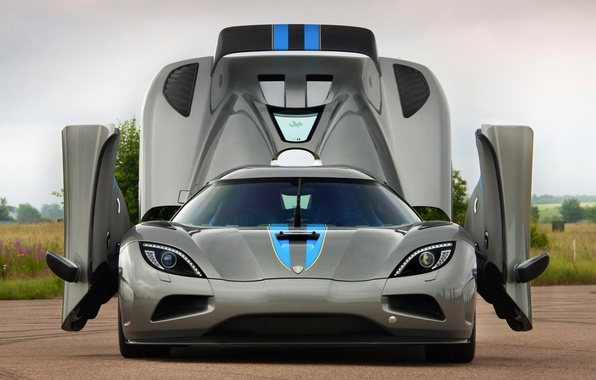 Picture the sky, grey, door, Koenigsegg, supercar, the front, Agera, hypercar, Koenigsegg, .the hood, agera