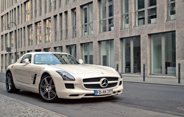 Picture white, street, white, mercedes, Mercedes, benz, sls, amg, street, AMG, SLS, Benz