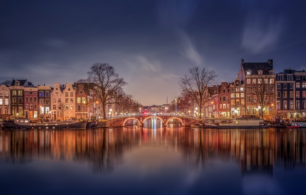Picture lights, home, the evening, Amsterdam, channel, Netherlands