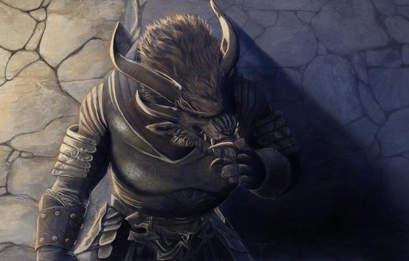 Guild Wars 2 Video Games Charr Wallpapers Hd Desktop: Wallpaper Wall, Monster, Art, Horns, Guild Wars 2, The