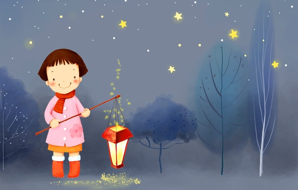Picture winter, trees, night, smile, stars, girl, lantern, boots, scarf, coat, baby Wallpaper
