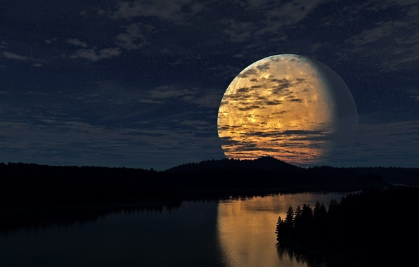 Picture forest, the sky, stars, clouds, light, night, river, The moon