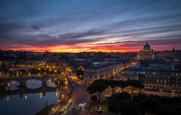 Picture sunset, the city, river, building, home, the evening, Rome, panorama, architecture, bridges, Italy, Rome, The …