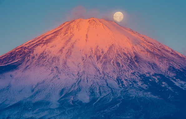 Picture the moon, mountain, the volcano, Japan, Fuji