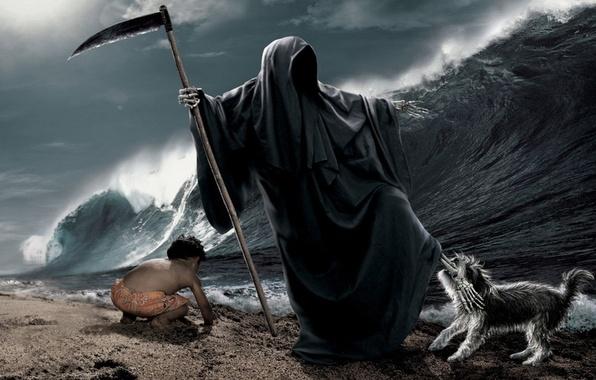 Picture sea, wave, beach, death, child, dog, bones, braid, leg