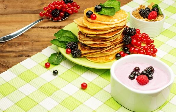 Picture berries, Breakfast, honey, pancakes, fresh, currants, BlackBerry, berries, breakfast, muesli, yogurt, pancake
