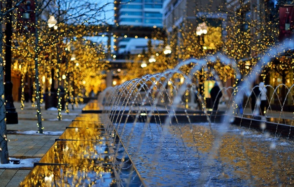 Picture winter, trees, the city, lights, building, the evening, fountain, Utah, USA, USA, garland, holidays, bokeh, …