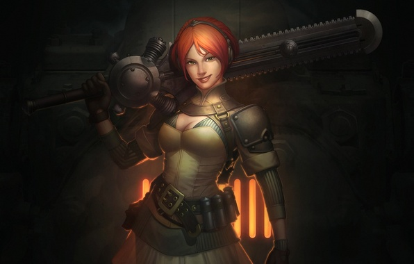 Picture girl, smile, fire, sword, grille, art, red