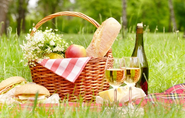 Picture greens, forest, summer, grass, trees, flowers, wine, basket, glade, apples, bottle, chamomile, bouquet, cheese, blanket, …