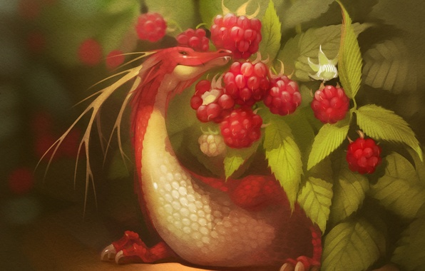 Picture red, berries, raspberry, dragon, art
