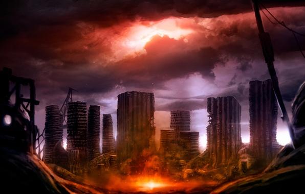Picture the sky, clouds, the city, house, Apocalypse, skyscraper, destruction, ruins
