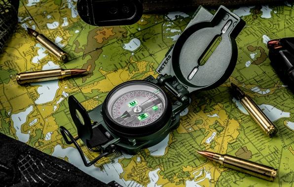Picture macro, map, arrow, bullets, compass