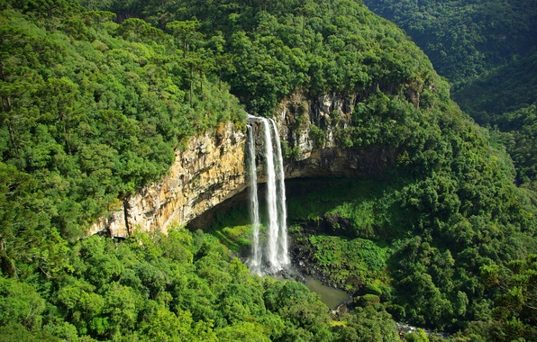 Picture greens, mountains, waterfall