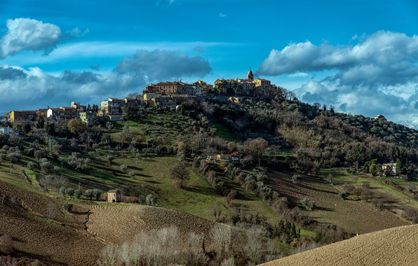 Picture autumn, the sky, clouds, trees, the city, field, mountain, hill, Italy