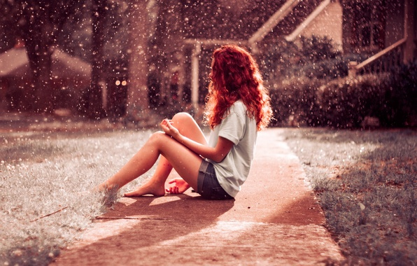 Picture red, girl, hair, Rainfall