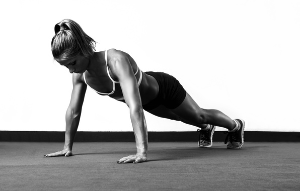 Picture fitness, white and black, pushups